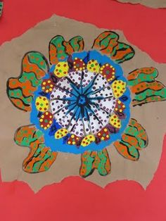 """In Australia, the native people are known as Aborigines.   Like the early cave painters, Aborigines use art as a way to communicate.  They use art as a way to tell stories, known as """"dreamings.""""  Dreamings are the aboriginal folk tales that teach why things happen the way they do."""