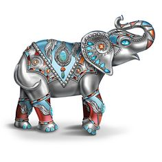 Native American-inspired elephant hand-painted in silvery tones. Over 16 faux gems, including turquoise. Thai Elephant, Elephant Love, Indian Elephant Art, Indian Art, Elephant Figurines, Orange And Turquoise, Elephant Tattoos, Lion Sculpture, Elephant Sculpture