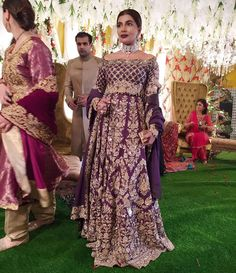 is a vision in this stunning aubergine bridal by at a family wedding Pakistani Bridal Couture, Pakistani Wedding Outfits, Bridal Outfits, Pakistani Dresses, Indian Dresses, Indian Outfits, Pakistani Clothing, Punjabi Wedding, Red Lehenga
