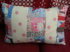 Scrappy patchwork cushion by cocojude Patchwork Cushion, Scrap, Cushions, Stripes, Tapestry, Throw Pillows, Blanket, Sewing, Pink