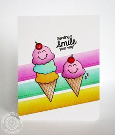 Sunny Studio Birthday Smiles Card by Mendi Yoshikawa - Scrapbook.com - Use a blending tool and distress ink to create this beautiful inked effect!