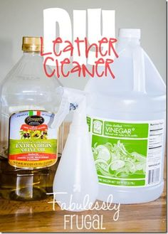 DIY 2 Ingredient Leather Cleaner and Conditioner You need: 1/2 cup of Olive Oil 3/4 cup of white vinegar Spray bottle rags