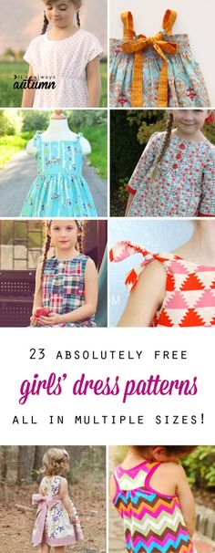 huge collection of free girls' dress patterns in multiple sizes - great for personal or charity sewing!