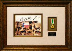 Honor the veterans or remember our passed soldiers with custom framing. The photo and military medal are the perfect personal touch to this piece! #honor #soldiers #veterans #gift