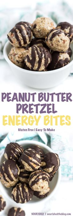 Gluten Free Peanut Butter Pretzel Energy Bite | This healthy snack recipe is gluten free, dairy free, vegan-possible, and easy to make. Energy bites are the perfect afternoon snack, simple dessert or game-day party food that everyone can enjoy. Click through for the full recipe!!