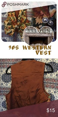 🍂Western🍂 Vintage Vest Beautiful brocade floral vest with leather and metal tassels. 90s true vintage! Will comfortably fit a medium but will also fit a L snugly. Vintage Jackets & Coats Vests