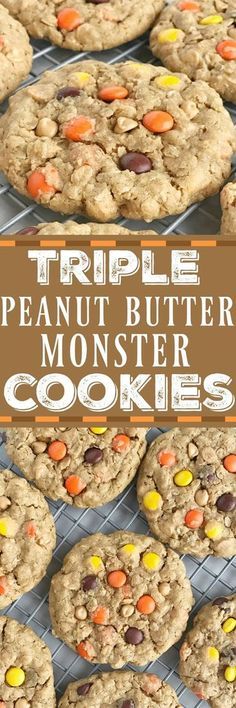 Triple Peanut Butter Monster Cookies. These triple peanut butter monster cookies are a peanut butter lovers dream! | Posted By: DebbieNet.com