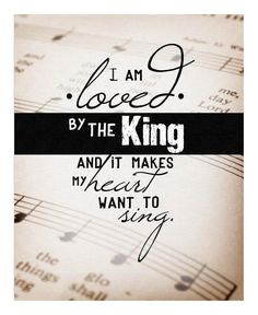 Yes...singing   I love you, Lord, and I lift my voice   To worship you, Oh my soul rejoice!   Take joy, my King, in what you hear   May it be a sweet, sweet sound in your ear