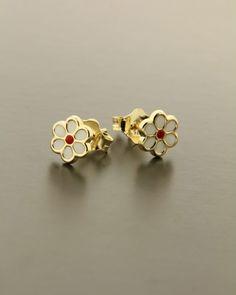 Παιδικά σκουλαρίκια μαργαρίτες χρυσά Κ9