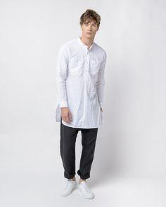 Banded Collar Long Shirt in White Linen Handkerchief