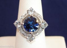 5 4 Ct Kashmire Blue Sapphire White Sapphire Aquamarine Blue Topaz Ring Size 7 | eBay - Absolute Boutique (absolutebtq)