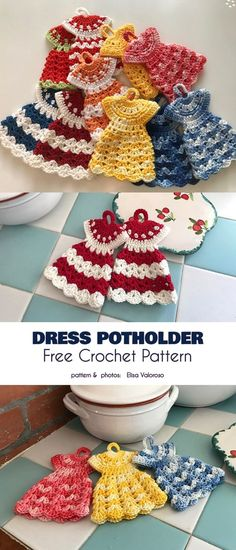 Potholders are just that: a thick cloth item to stop you from burning your hands when you lift a hot pot. That's the ho-hum mundane version. We, crocheters, know that a pot holder can be so much… Crochet Hot Pads, Crochet Pig, Crochet Towel, Crochet Potholders, Crochet Gifts, Free Crochet Potholder Patterns, Crochet Kitchen Towels, Knitting Patterns, Vintage Crochet Patterns