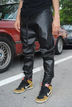 This shit cool as hell Handmade Black Faux Leather Drop Crotch  Harem by GAGONTHISTHREADS, $75.00