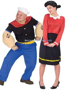 couples popeye and olive oyl adult costume funny pair duo theme party halloween halloween. Black Bedroom Furniture Sets. Home Design Ideas