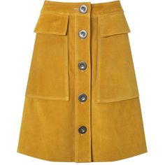 M.i.h Jeans Saffron Suede A-Line Damas Skirt ($160) ❤ liked on Polyvore featuring skirts, bottoms, knee length a line skirt, suede a line skirt, yellow skirt, suede leather skirt and textured skirt