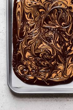 Dark Chocolate Peanut Butter Swirl Bark with Sea Salt is so easy to make, just 3 ingredients! It makes a great homemade holiday gift! #chocolatebark #darkchocolatebark #chocolatepeanutbutterbark
