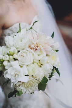 White + Blush Pink Wedding Bouquet | On Style Me Pretty: http://www.stylemepretty.com/nebraska-weddings/omaha/2013/11/27/surprise-omaha-wedding-from-lovestru-ck-and-the-mullers  Photography: The Mullers