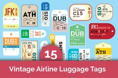 15 Vintage Airline Luggage Tags - Objects - 1