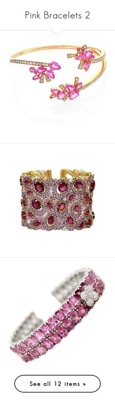 """""""Pink Bracelets 2"""" by franceseattle ❤ liked on Polyvore featuring jewelry, bracelets, gold jewelry, diamond jewellery, 18 karat gold jewelry, 18 karat gold bangles, gold diamond jewelry, 18k bangle, judith ripka and pink tourmaline jewelry"""