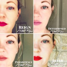 POWERlips Fluid by Nu Skin colors Roar, Determined, Persistence & Reign. available @ Beautyboxbabe.com