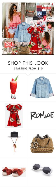 """""""Red floral dress for summer"""" by katik27 ❤ liked on Polyvore featuring Frame and Karl Lagerfeld"""