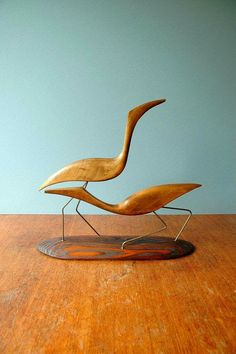 Large mid century modern hand carved wood and brass shore bird sculpture. Birds are carved and stained hardwood with brass legs Wooden Art, Wooden Crafts, Wood Animal, Wood Bird, Bird Sculpture, Mid Century Art, Wood Toys, Wood Carving, Wood Projects