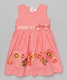 Coral Floral Babydoll Dress - Toddler & Girls