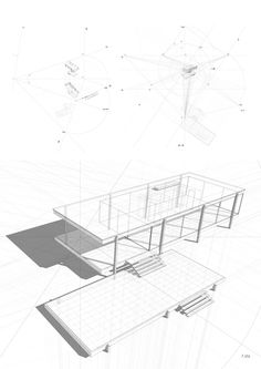 Farnsworth House, built by Ludwig Mies van der Rohe in 1951 and located near Plano, Illinois. studio sulla prospettiva_f. Architecture Drawings, Amazing Architecture, Contemporary Architecture, Architecture Details, Ludwig Mies Van Der Rohe, Casa Farnsworth, Farnsworth House Plan, Genius Loci, 3d Modelle