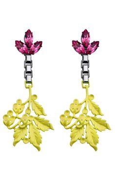 Mawi Crystal and Neon Leaf Earrings at Moda Operandi