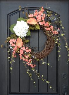 Spring Wreath Summer Wreath Floral Green White Wispy Branches Door Wreath Grapevine Wreath Decor-Coral-Peach-Calla Lilies Easter-Mothers Day by AnExtraordinaryGift on Etsy