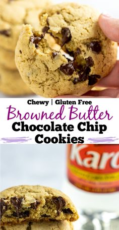 Chewy Gluten Free Browned Butter Chocolate Chip Cookies are sweet and nutty, made with easy ingredients like brown sugar and corn syrup, and entirely gluten free! #ad #BakeBetterCookies #CollectiveBias # #ChocolateChipCookies #glutenfree #baking #cookies