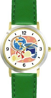 Skull Cap, Diploma and World Globe - Graduation Theme - WATCHBUDDY® DELUXE TWO-TONE THEME WATCH - Arabic Numbers - Green Leather Strap-Size-Children's Size-Small ( Boy's Size & Girl's Size ) WatchBuddy. $49.95. Save 38%!