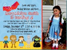 Wizard Of OZ party ideas, love the wording and Nora will be turning 4, perfect!
