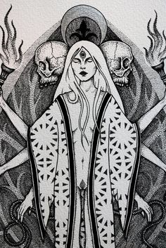 Hecate - Art print with hand embellished silver highlights - illustration of the Greek goddess of witchcraft and magic Pagan Art, Occult Art, Art And Illustration, Illustrations, Fantasy Kunst, Fantasy Art, Hecate Goddess, Greek Goddess Art, Wiccan