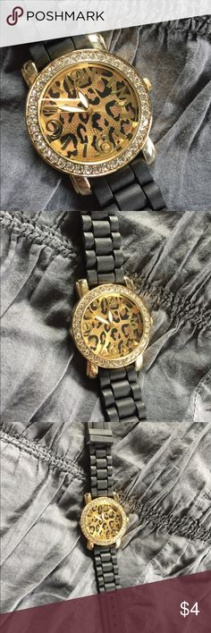 "Leopard silicon watch BRAND NEW! Never worn! Awesome leopard silicon watch! Rhinestone accents! Can you say ""purrrrrrr-fect""?!  *NEEDS A NEW BATTERY! Accessories Watches"