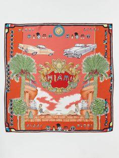 "Foulard Miami Silk Scarf 35"" x 35"" by Versace on Gilt.com"