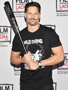 Star Tracks: Monday, April 20, 2015 | GO GET 'EM, SLUGGER! | Magic Mike XXL star Joe Manganiello shows off his, er, bat at the Film Independent at LACMA Live Read of Major League on Thursday in Los Angeles.