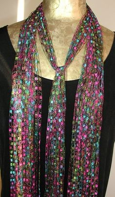 The latest trend: Ribbon Scarves, Ribbon Necklaces, Yarn Necklaces, Ladder Necklace, Trellis Necklace, Ladder Scarf, Trellis Scarf   The Craft Maven