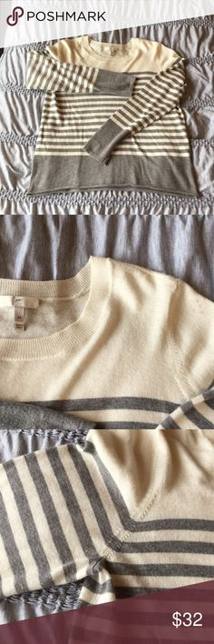 Joie wool blend light gray cream striped sweater Very good condition Joie viscose/wool blend lightweight super soft sweater.  Light gray and cream stripes.  Some minor pilling as shown near armpit area.  No holes or defects.  Medium fits TTS. Sweaters Crew & Scoop Necks