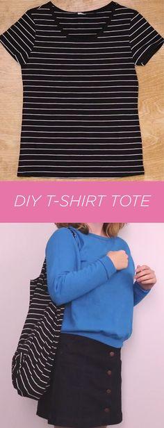 Turn a simple tee into a custom tote bag!