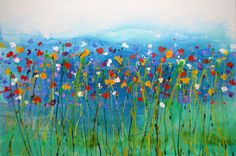 Original Flower hand painted Art by Caroline Ashwood - contemporary abstract painting on canvas - FREE SHIPPING