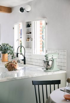 A Cozy Kitchen Renovation Reveal Part I Cosy Kitchen, All White Kitchen, Farmhouse Kitchen Decor, Kitchen Interior, Kitchen Dining, Small Cabin Kitchens, Cottage Kitchens, Ikea Fireplace, Devol Kitchens