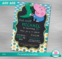 Georges Pig Invitation DIY Peppa Pig by berryniceprintables … Easter Birthday Party, Birthday Crafts, 2nd Birthday Parties, Pig Birthday, Peppa Pig Invitations, Diy Invitations, Birthday Party Invitations, Invitacion Peppa Pig, Cumple Peppa Pig
