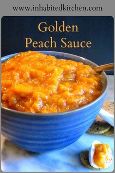 Golden Peach Sauce - No Sugar Added - Inhabited Kitchen Pureed Food Recipes, Fruit Recipes, Sauce Recipes, Summer Recipes, Appetizer Recipes, Vegan Recipes, Dessert Recipes, Nutella Recipes, Breakfast Recipes