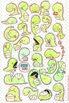 Self cut sheet of stickers featuring Kaiami's original character, Gordy the dinosaur