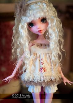 OOAK monster high doll by Andreja Custom Monster High Dolls, Monster Dolls, Monster High Repaint, Custom Dolls, Ooak Dolls, Blythe Dolls, Barbie Dolls, Pretty Dolls, Beautiful Dolls