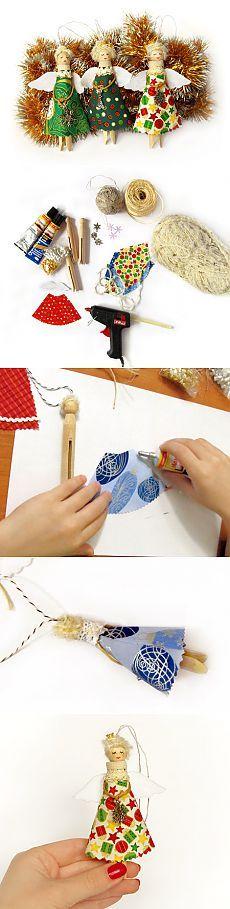 Ángeles de la Navidad de pinzas de la ropa clavijas carro - artesanal tienda