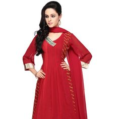 Red Faux Georgette Readymade Anarkali Kameez with Legging