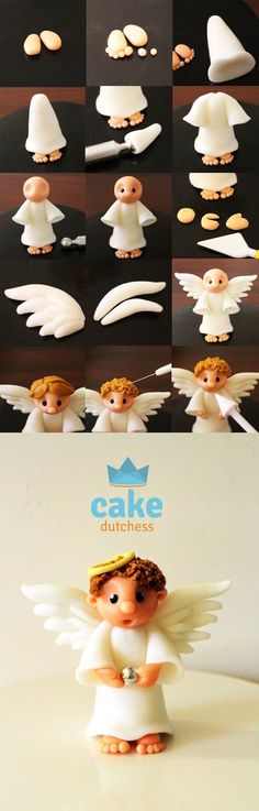 Fondant angel cake topper for a birthday cake or maybe a christening? Cake Topper Tutorial, Fondant Tutorial, Fondant Figures, Cake Decorating Techniques, Cake Decorating Tutorials, Fondant Flowers, Sugar Flowers, Fondant Toppers, Fondant Cakes