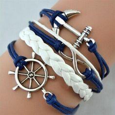 Layered  Leather Wrap Bracelet Charm Set - 10 Styles